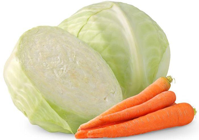 Капуста и морковь для кролика