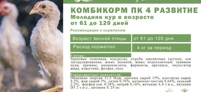 Комбикорм ПК-4 для кур