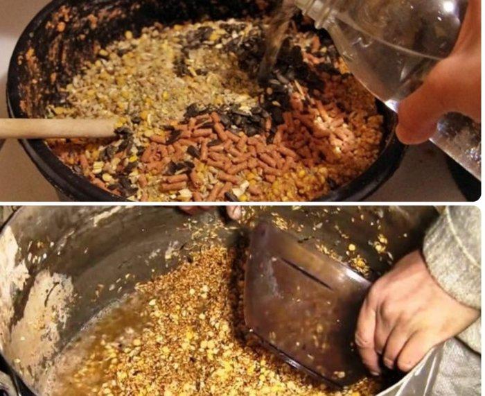 Приготовление мешанки для кур