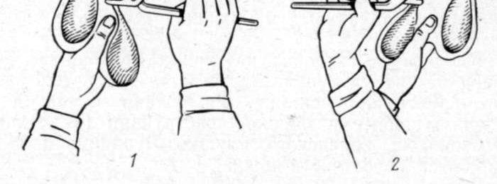 Схема захвата щипцами при кастрации
